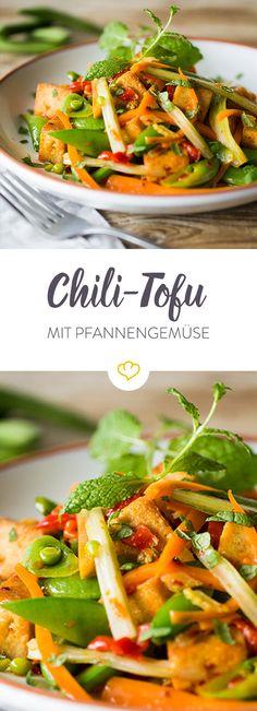 Für alle, die es gerne scharf und fleischlos mögen. Der Chili verleiht dem Tofu eine pikante Note; knackiges Gemüse rundet das Ganze perfekt ab.