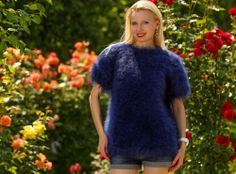 New Hand Knitted Mohair Sweater BLUE Summer Fuzzy Handknit Jumper by SUPERTANYA #SUPERTANYA #Crewneck