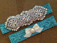 Wedding Garter SET / Pearl and Crystal by SimplyKateGrace on Etsy
