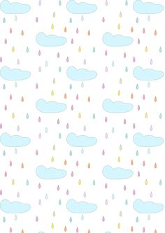 FREE printable rainy clouds pattern paper | #nurserypattern #pastel