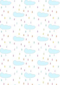 FREE printable rainy clouds pattern paper | #nurserypattern #pastel