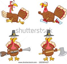 Turkey Birds Cartoon Mascot Characters 1. Vector Collection Set
