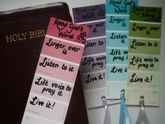 Another version of Lectio Divina using paint chips as a reminder bookmark