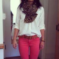 Colored denim + white flannel