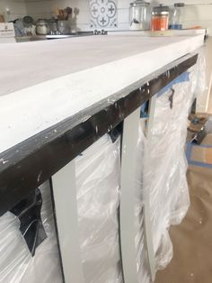 White Concrete Countertops, Entryway Tables, Desk, Furniture, Home Decor, Desktop, Decoration Home, Room Decor, Table Desk