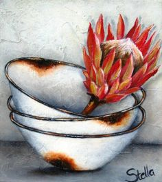 Stella Bruwer white enamel stacked bowls with one large red protea Decoupage Vintage, Stella Art, Protea Art, South African Artists, Painting Inspiration, Art Inspo, Fabric Painting, Rock Art, Art Images