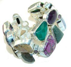 $164.85 Aura Of Beauty!!! Multigem Sterling Silver Bracelet at www.SilverRushStyle.com #bracelet #handmade #jewelry #silver #multigem