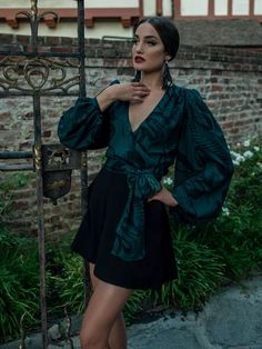 Georgette Wrap Blouse in Serpentine Print by Natalie Hall | Goth Tops – La Femme En Noir Wrap Blouse, Wrap Dress, Natalie Hall, Black Bustier Top, Deadly Females, Gothic, We Wear, How To Wear, Bandeau Swim Tops