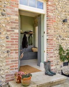 "devol-kitchens: "" A very pretty view into the South Downs Boot Room "" Halls, Devol Kitchens, Kitchen Cabinetry, Kitchen Backsplash, Vestibule, English Countryside, Countryside Homes, English Manor, English Style"