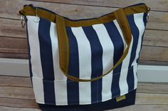 Extra Large Camera Bag dslr / Navy Blue & White by DarbyMack