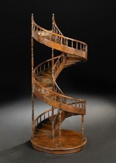 """Mahogany Architectural Model of a Spiral Staircase, with spindled banister, 20th century - Dim: h. 41"""", dia. 17""""."""