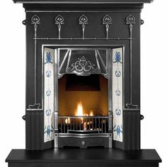 The Amsterdam Hi-Quality Cast Iron Fireplace from Gallery as a shelf . The Art Nouveau combination fireplace as a cast back with a optional tile set and optional hearth, optional gas fire, electric fire or a kit for solid fuel. The Art Nouveau Cast Iron Stove, Cast Iron Fireplace, Stove Fireplace, Faux Fireplace, Fireplace Surrounds, Edwardian Fireplace, Granite Hearth, Multi Fuel Stove, Concrete Fireplace