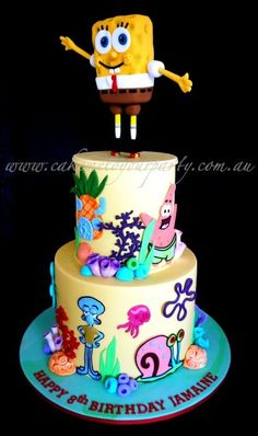 Spongebob Riding a Skateboard (Pennyboard) Cake - by CakeMeToYourParty @ CakesDecor.com - cake decorating website