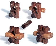 "Fiendish Knot Puzzle By John Cauley Here's a puzzle that's devilishly difficult to solve but quite easy to make. You only need some 3/4"" hardwood dowel rods, a 3/4"" Forstner bit, a tablesaw and a drill press. At the end of one day in the shop you'll have a dozen of these inexpensive brainteasers to tantalize your friends. You may also like… Wiffle Ball Cube In a Cube Lumber Library …"