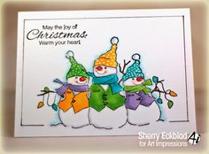 Art Impressions Rubber Stamps:  Christmas Snowmen (Sku#T3609) Handmade winter card.