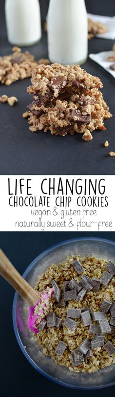 Life Changing Chocolate Chip Cookies - gluten-free, vegan, refined sugar free, flour free and DELICIOUS! Gluten Free Sweets, Vegan Sweets, Healthy Baking, Vegan Desserts, Healthy Desserts, Delicious Desserts, Dessert Recipes, Yummy Food, Tasty