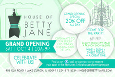 You're invited to our Grand Opening on Saturday, October 4th! Enjoy 20% off all day and a party before closing from 6-9PM! Click the picture for your free tickets to our soirée!