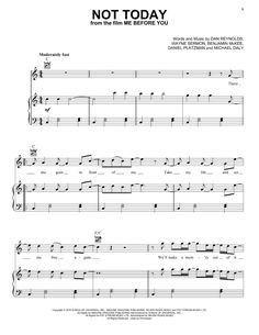 Preview Imagine Dragons Not Today (from Me Before You) Pop sheet music, notes and chords for Piano, Vocal & Guitar (Right-Hand Melody), SKU: 451573