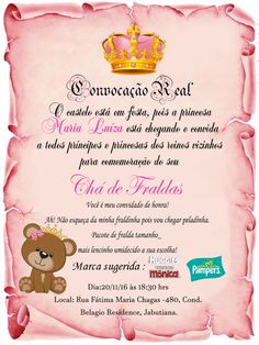 Convite pergaminho ursinha rosa Maria Valentina, Tatoos, Cards, Diaper Invitations, Invitation Birthday, Baby Boy Shower, Baby Shower Pink, Elegant Invitations, Baby Shower Cards
