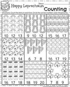 FREE Kindergarten Counting Worksheet for March in a fun St. Patrick's Day theme.