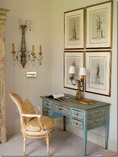 Small spaces, Chic, Home office w/ elegant touches of golds & blues.