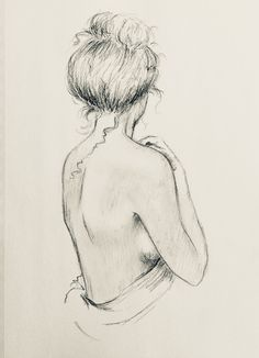 Nude Woman Print Drawing Figurative Portrait sketch minimalist back view by Kare. - Nude Woman Print Drawing Figurative Portrait sketch minimalist back view by Kare… – me. Pencil Art Drawings, Art Drawings Sketches, Easy Drawings, Charcoal Drawings, Easy Sketches To Draw, Things To Sketch, Contour Drawings, Sketch Drawing, Drawing Art