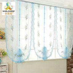 Roman Curtains Pastoral Blue Floral Voile Gauze For Kitchen Window Curtains Living Room Tulle 1PCS/Lot #Affiliate