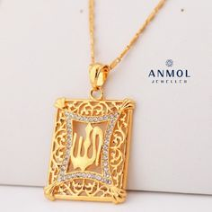 New Islamic Allah Pendant Charms Gold Plated Rhinestone Choker Necklace Religious Muslim Jewelry For Men / Women Gold Jewelry, Jewelry Accessories, Jewelry Design, Jewellery, Arrow Necklace, Gold Necklace, Pendant Necklace, Rhinestone Choker, 18k Gold