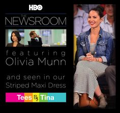 The Newsroom?  Yes we love it too!  Here is Olivia Munn spotted in our Striped Maxi Dress....looks great with her jean jacket and boots!  LOVE THIS LOOK!