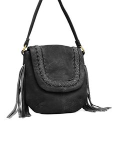 Look at this Lucky Brand Black Gemma Leather Crossbody Bag on #zulily today!