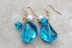 Tiaria Aqua Beaded Earrings Swarovski Crystal Mixed by InaraJewels, $29.95