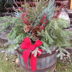 Holiday whiskey barrel