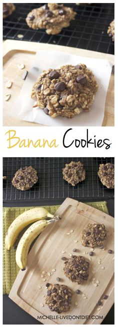 Go Game-Night Bananas with these Healthy Banana Chocolate Chip Cookies! My Recipes, Delicious Recipes, Recipies, Dessert Recipes, Yummy Food, Healthy Desserts, Healthy Food, Healthy Recipes, Game Night Snacks