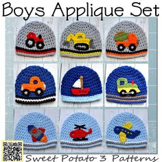 free+crochet+applique+patterns+for+boys | Boy Applique PATTERNS - Crochet - Construction, Air, Trains, Farm ...