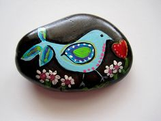 Hand Painted Stone Rock Rocks for the Cure BLUEBIRD OF HAPPINESS