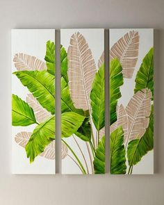 Legends Of Asia Palm Leaf Carved Wall Art, Set of 3 - carving Leaf Wall Art, Leaf Art, Green Wall Art, Diy Canvas, Canvas Wall Art, Painted Leaves, Bathroom Art, Wall Art Sets, Painting Inspiration