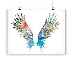 Angel Wings Art Print Watercolor Painting Feather by Thenobleowl