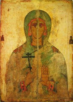 The Martyr Juliana. Pskov icon. Late XIV—early XV centuries. Pskov State United Historical, Architectural and Fine Arts Museum-Reserve