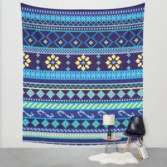 Cheery Blues Geometric Pattern Wall Tapestry by Noonday Design | Society6