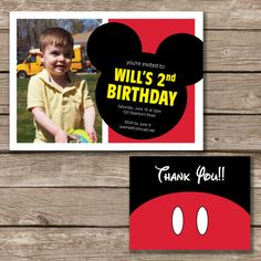 Mickey Mouse Birthday Mickey Mouse Invitation by CollarCreative