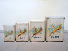 4 Antique French TIN FLORAL BIRDS CANISTERS CONTAINERS BOXES #FrenchCountryProvincial