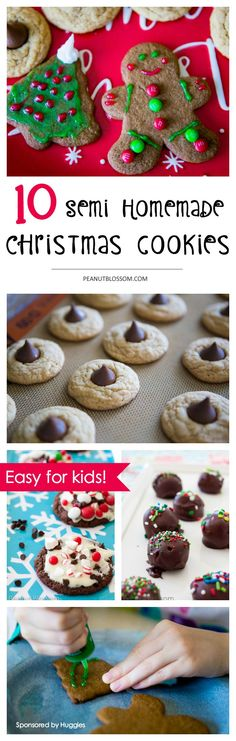 10 semi homemade Christmas cookies so easy your kids can make them! Love these cookie recipes for the holiday season. Great way to get kids in the kitchen.