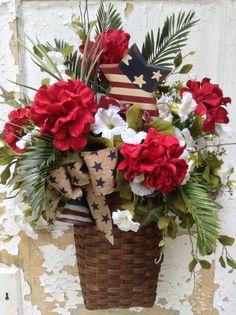 Patriotic Wreath  Americana Basket 4th of July by FlowerPowerOhio