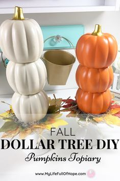 Creating this simple DIY Fall Dollar Tree Pumpkin topiary is a great addition to. - Creating this simple DIY Fall Dollar Tree Pumpkin topiary is a great addition to any fall decor, ce - Dollar Tree Pumpkins, Dollar Tree Fall, Dollar Tree Decor, Dollar Tree Crafts, Dollar Tree Halloween Decor, Pumpkin Topiary, Diy Pumpkin, Dollar Tree Centerpieces, Winter Thema