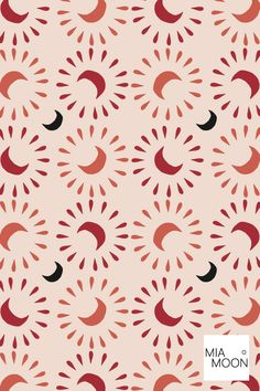 Mia Moon Studio Surface pattern design : Boho pattern in red, black, orange, pink mia moon Textiles, Textile Patterns, Textile Design, Print Patterns, Daisy Pattern, Pattern Art, Abstract Pattern, Orange Pattern, Bohemian Pattern