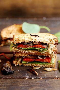 Roasted Bell Pepper, Onion and Mushroom Sandwich - Vegan