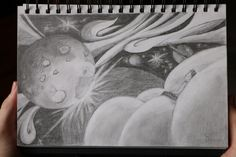 """Abstract pencil drawing inspired by a dream of outer space. Enjoy fantasy landscapes and my pencil art series """"Dreaming in the Clouds"""". Space Drawings, Sketchbook Drawings, Fantasy Landscape, Abstract Landscape, Abstract Art, Abstract Pencil Drawings, Cloud Drawing, Art Series, Abstract Styles"""