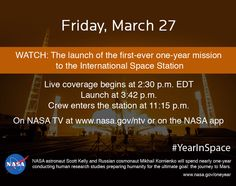 On March 27, 2015, NASA astronaut Scott Kelly and Russian Cosmonaut Mikhail Kornienko will launch to the International Space Station, beginning a one-year mission in space, testing the limits of human research, space exploration and the human spirit.  http://www.nasa.gov/oneyear/