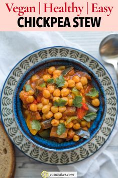 Easy Vegan Chickpea Stew - Make this easy chickpea stew every time you fancy a simple and filling vegan dish. Full of Middle Eastern flavours, this chickpea stew is simply delicious. #chickpea #stew #chickpeastew #vegan #veganrecipe