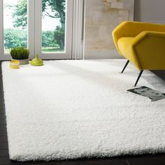 Safavieh California Cozy Plush Milky White Shag Rug - x Square x Square - White) (Polypropylene, Solid) White Shag Rug, White Rug, White Area Rug, Area Rugs Cheap, Cheap Rugs, Brown Carpet, Grey Carpet, Shag Carpet, Fur Carpet